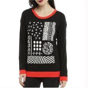 Twenty One Pilots Sweater Black Red White Size M